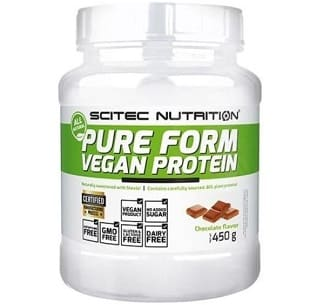 pure form vegan protein 450 grammi scitec nutrition proteina vegetale per vegani priva di soia