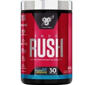 endorush pre workout bsn agisce sul pompaggio, sull'energia e sulla concentrazione mentale, attenzione contiene 200mg di caffeina