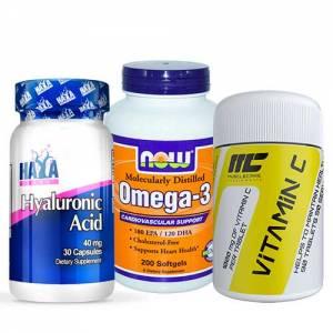 pacchetto salute capelli, unghie e pelle, a base di omega-3 vitamina c e acido ialuronico