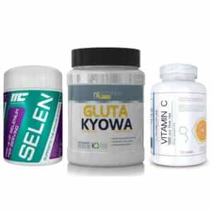 immune support pack tre integratori per le difse immunitarie, glutammina selenio e vitamina c