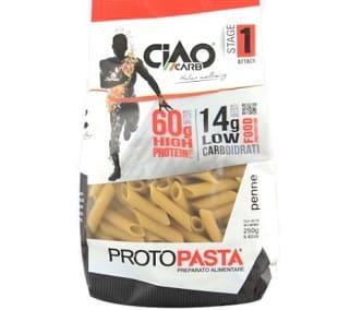 protopasta penne pasta proteica ciao carb, 60 per cento in proteine nobili ma bassa in zuccheri e grassi