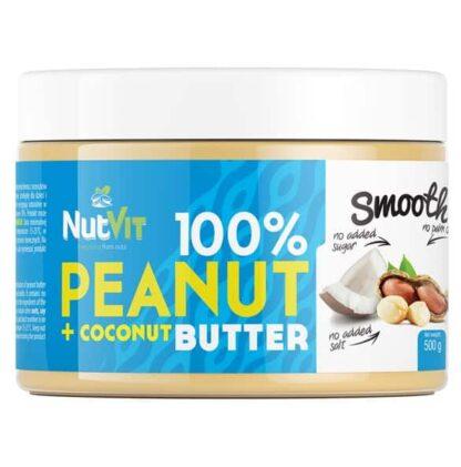 burro di arachidi con cocco alimento dietetico gustoso ed energetico, senza composti artificiali ne sale aggiunto
