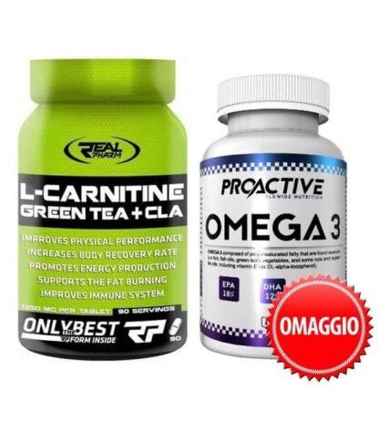l-carnitina cla te verde con omega-3 in omaggio, promo pack dimagrante energetico e antiossidante