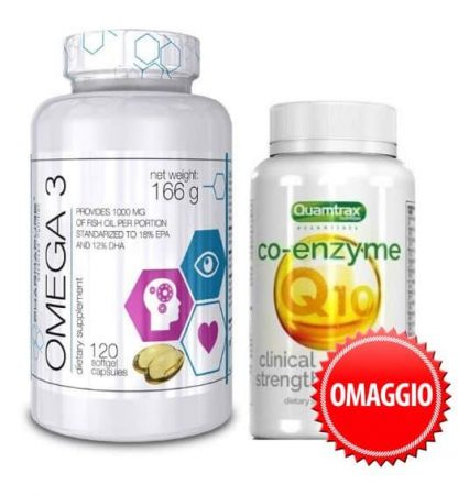 omega 3 pharmapure con coenzima q10 quamtrax in omaggio, azione antiossidante antiage ed energetica